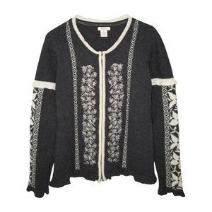 Sundance Lambswool Zip Cardigan Embroidered Ruffle